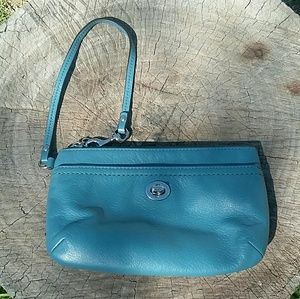 Coach Turnlock Leather Wristlet Blue Leather